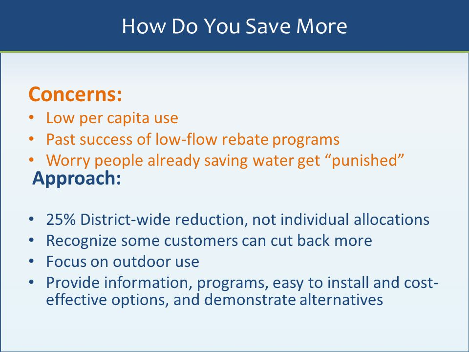 How Do You Save More Concerns: Approach: Low per capita use