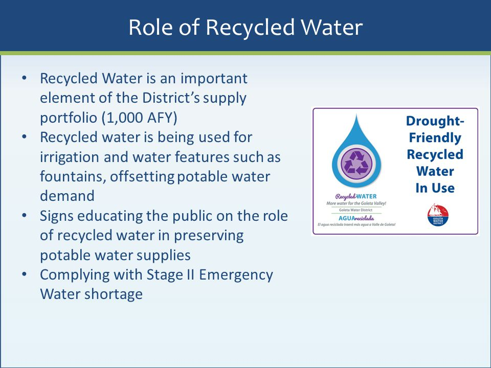 Role of Recycled Water Recycled Water is an important element of the District's supply portfolio (1,000 AFY)