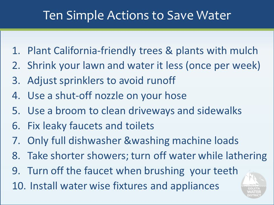 Ten Simple Actions to Save Water