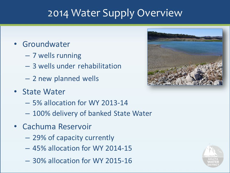 2014 Water Supply Overview Groundwater State Water Cachuma Reservoir