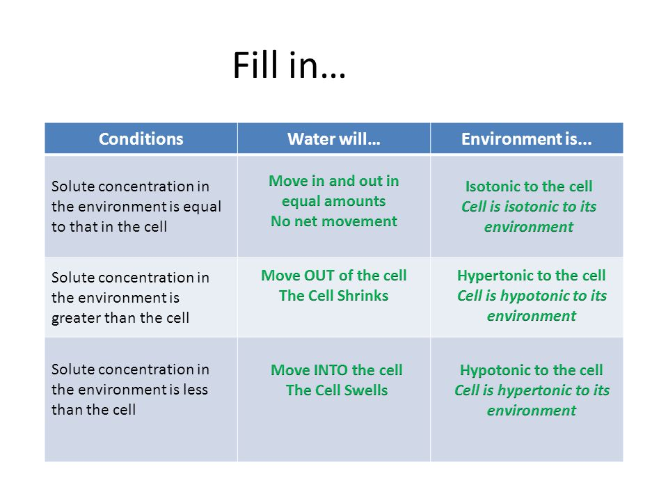 Fill in… Conditions Water will… Environment is...