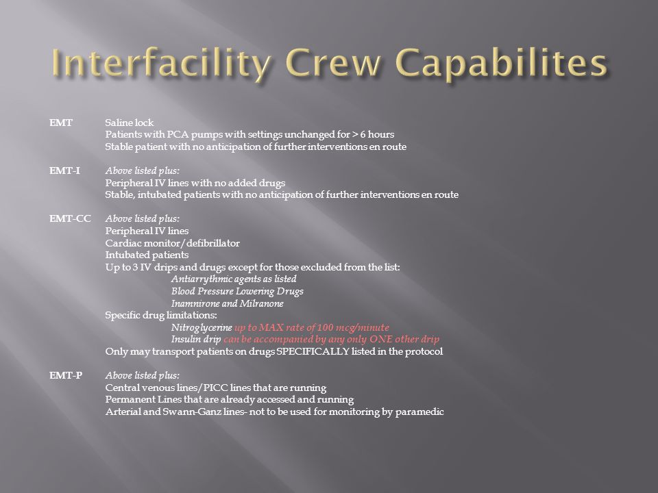 Interfacility Crew Capabilites