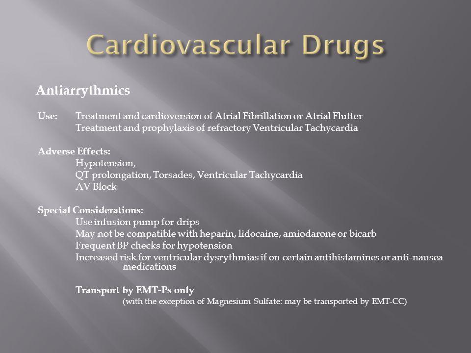Cardiovascular Drugs Antiarrythmics
