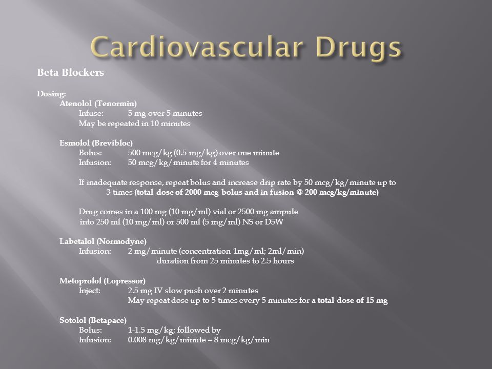 Cardiovascular Drugs Beta Blockers Dosing: Atenolol (Tenormin)