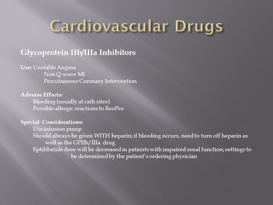 Cardiovascular Drugs Glycoprotein IIb/IIIa Inhibitors