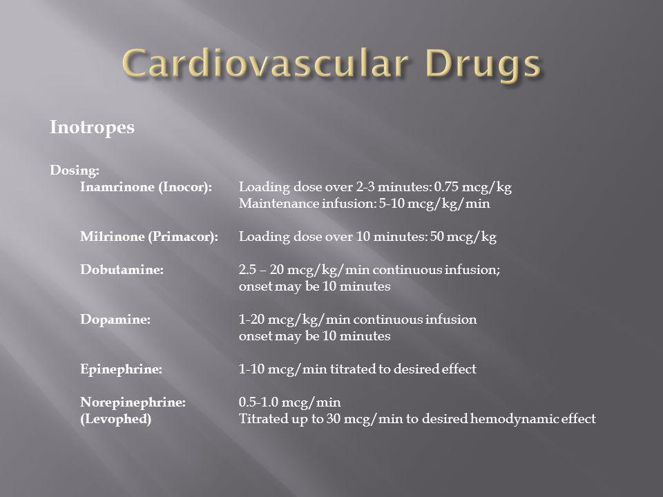 Cardiovascular Drugs Inotropes Dosing: