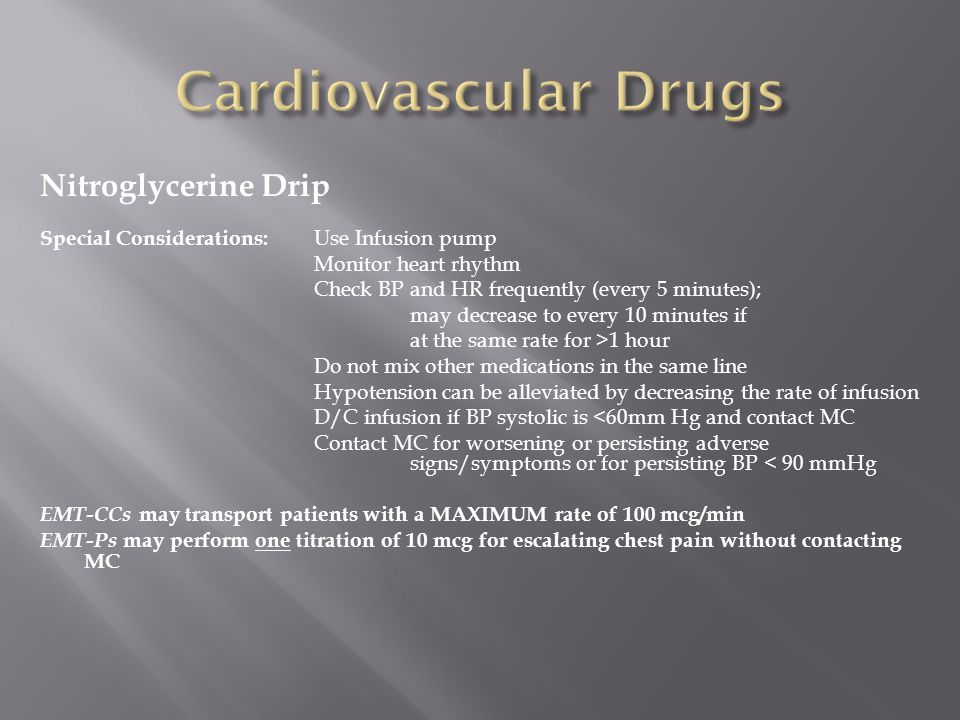 Cardiovascular Drugs Nitroglycerine Drip