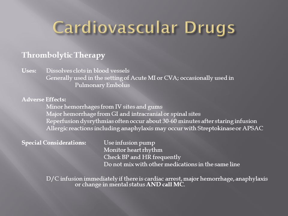 Cardiovascular Drugs Thrombolytic Therapy