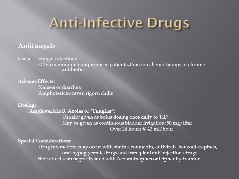 Anti-Infective Drugs Antifungals Uses: Fungal infections