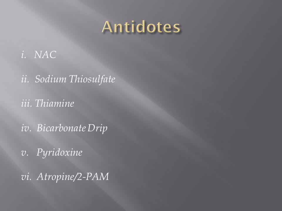 Antidotes i. NAC ii. Sodium Thiosulfate iii. Thiamine
