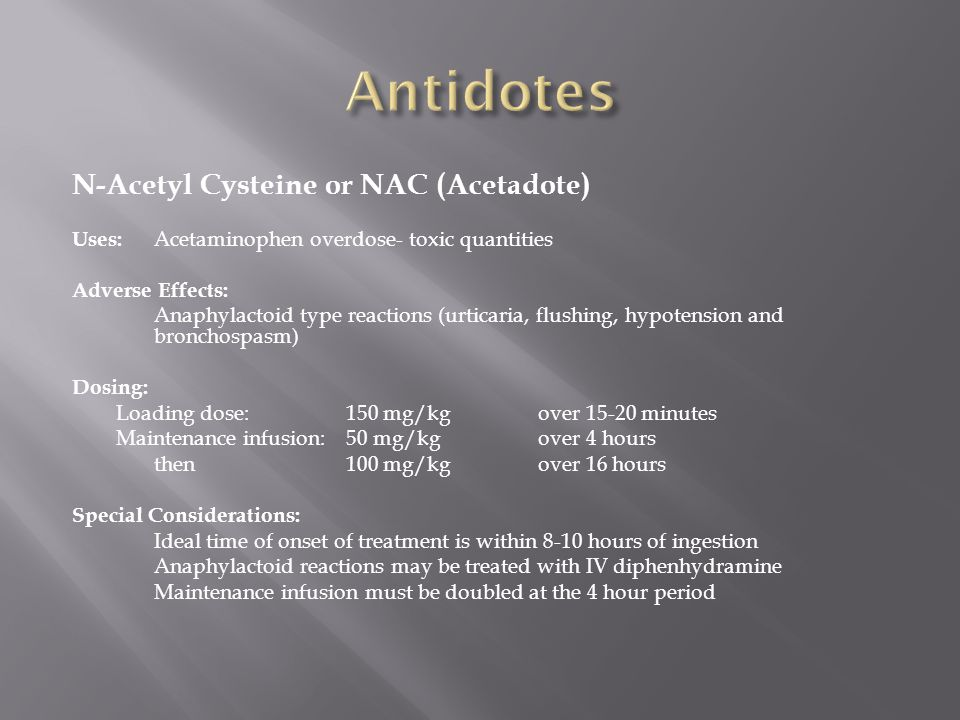 Antidotes N-Acetyl Cysteine or NAC (Acetadote)