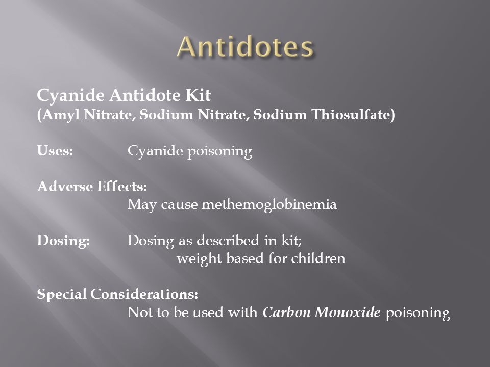 Antidotes Cyanide Antidote Kit