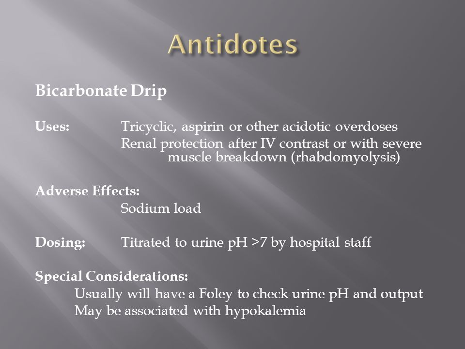 Antidotes Bicarbonate Drip
