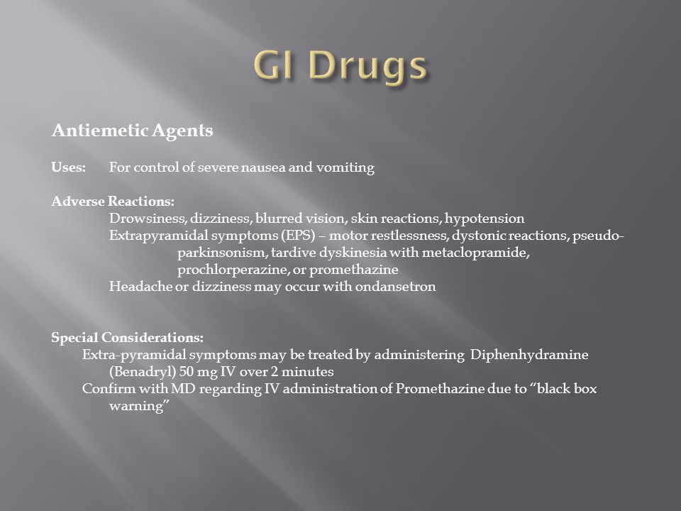 GI Drugs Antiemetic Agents