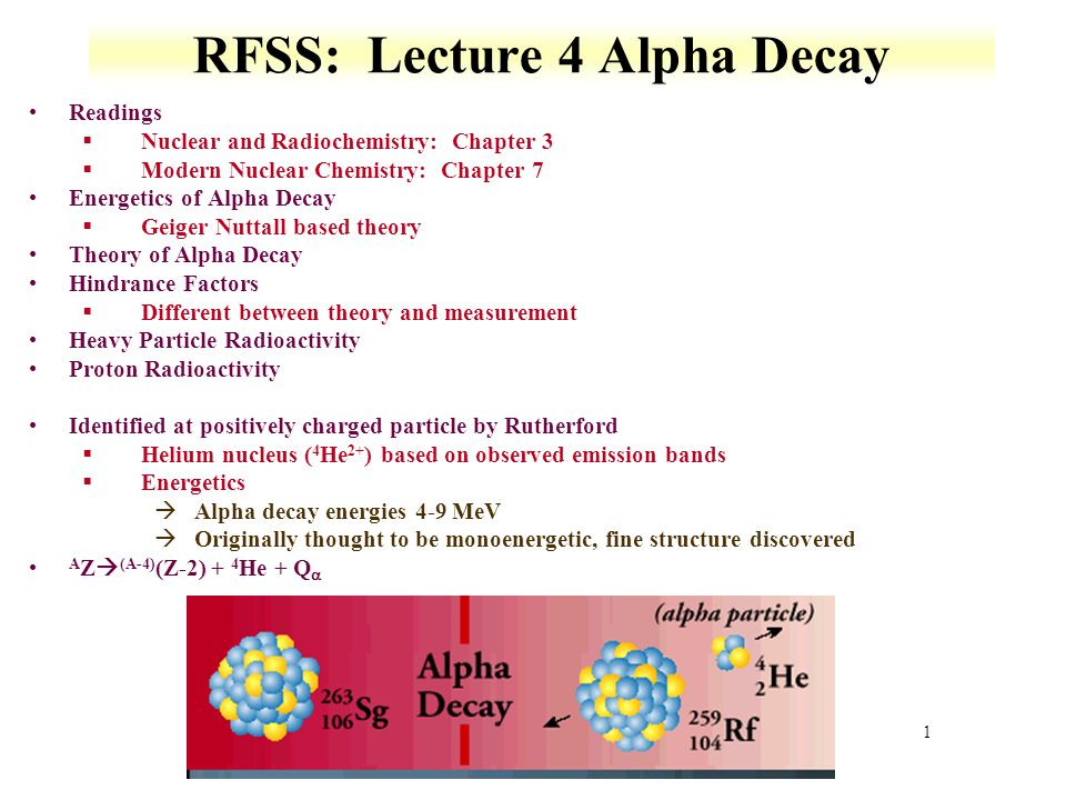 RFSS: Lecture 4 Alpha Decay