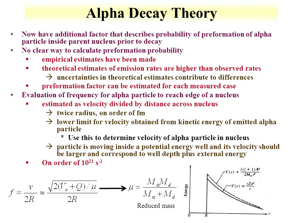 Alpha Decay Theory Now have additional factor that describes probability of preformation of alpha particle inside parent nucleus prior to decay.