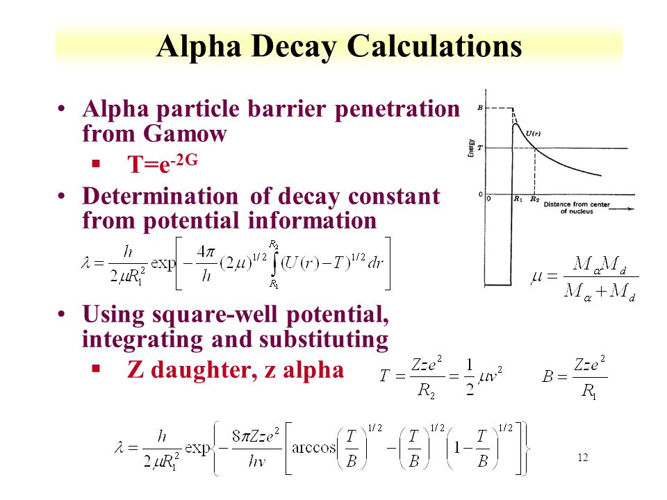 Alpha Decay Calculations