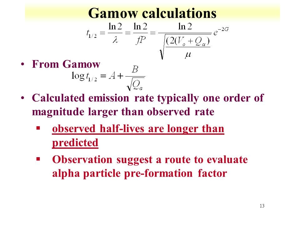 Gamow calculations From Gamow