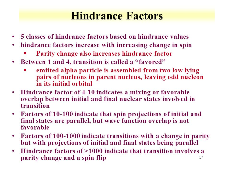 Hindrance Factors 5 classes of hindrance factors based on hindrance values. hindrance factors increase with increasing change in spin.