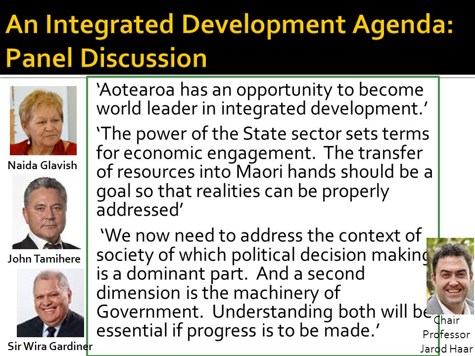 An Integrated Development Agenda: Panel Discussion