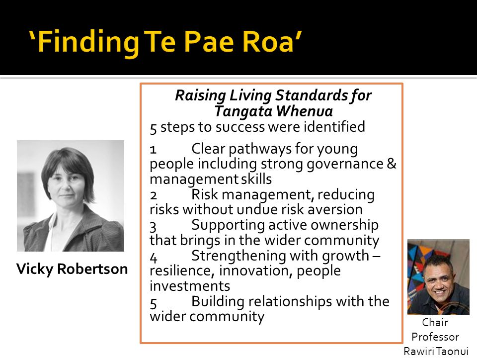 Raising Living Standards for Tangata Whenua