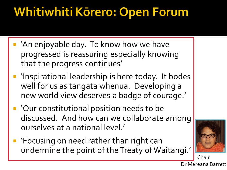 Whitiwhiti Kōrero: Open Forum