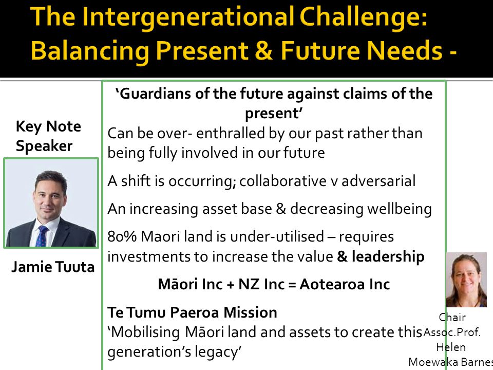 The Intergenerational Challenge: Balancing Present & Future Needs -