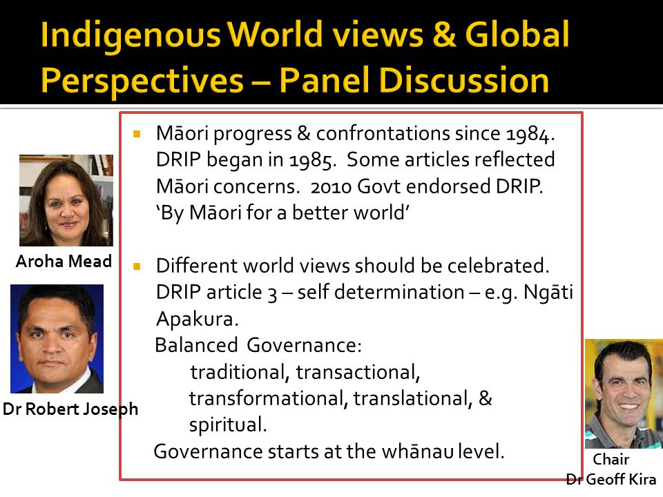 Indigenous World views & Global Perspectives – Panel Discussion