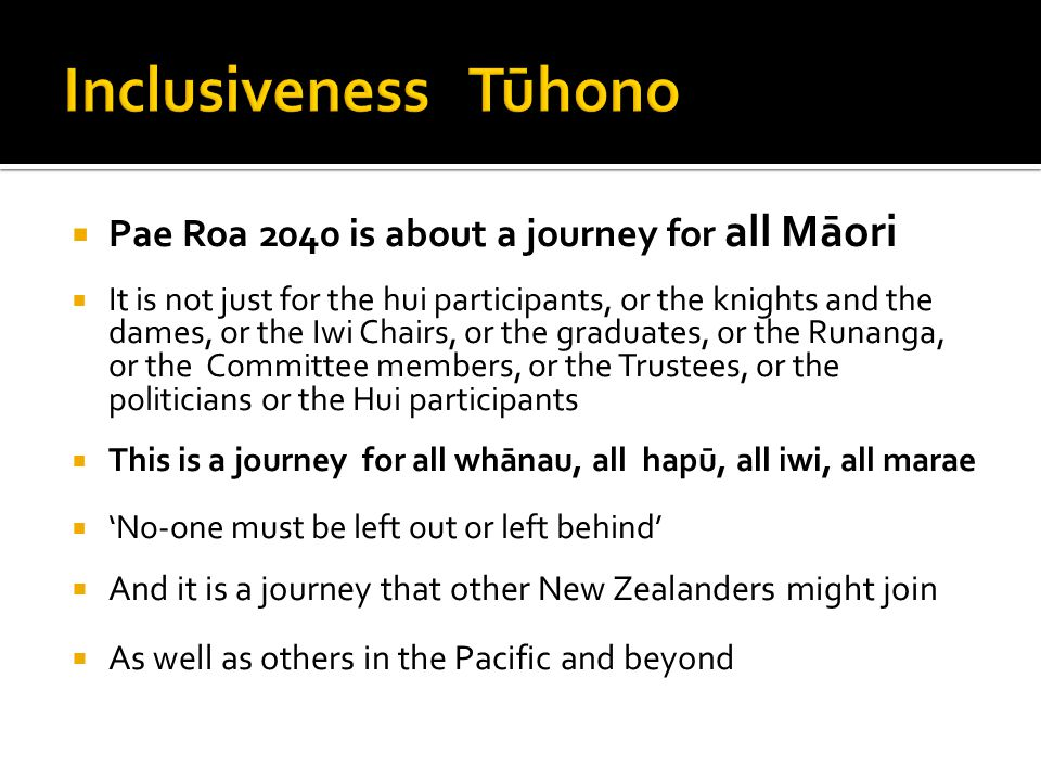 Inclusiveness Tūhono Pae Roa 2040 is about a journey for all Māori