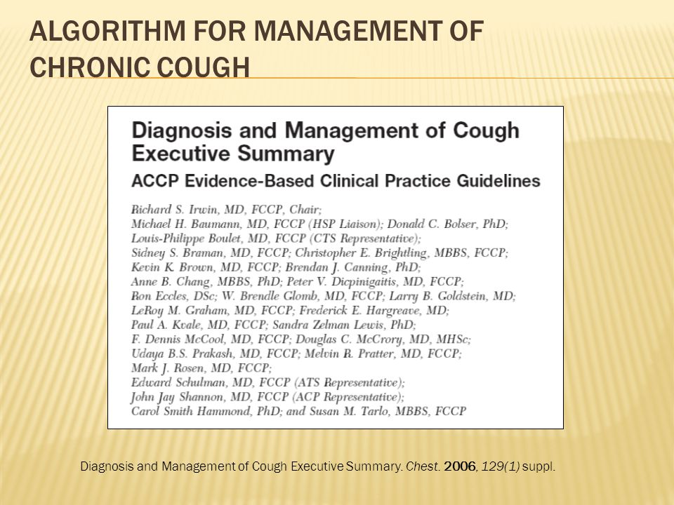 Algorithm for Management of Chronic Cough