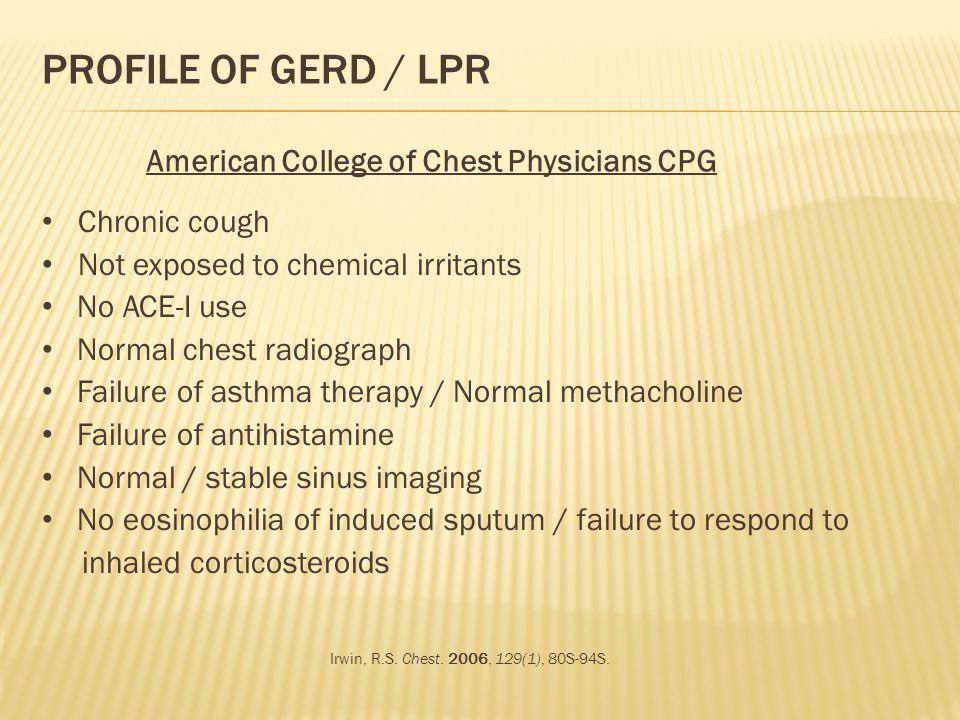 Profile of GERD / LPR American College of Chest Physicians CPG