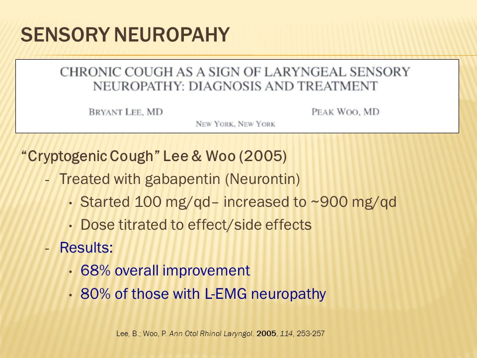 Sensory Neuropahy Cryptogenic Cough Lee & Woo (2005)