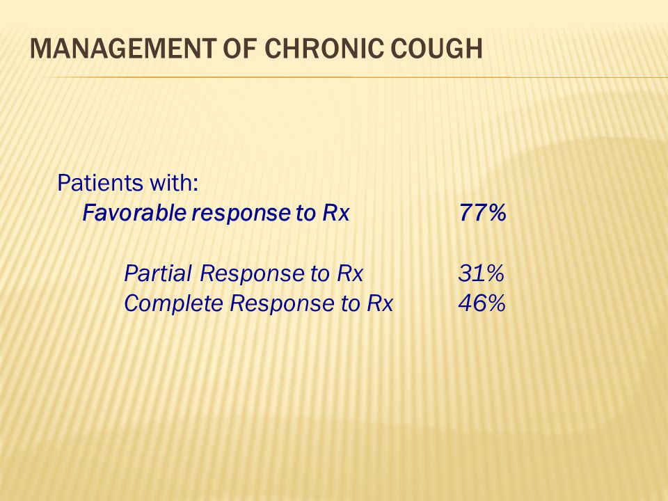 management of Chronic Cough