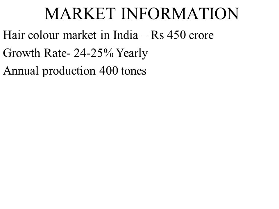 MARKET INFORMATION Hair colour market in India – Rs 450 crore