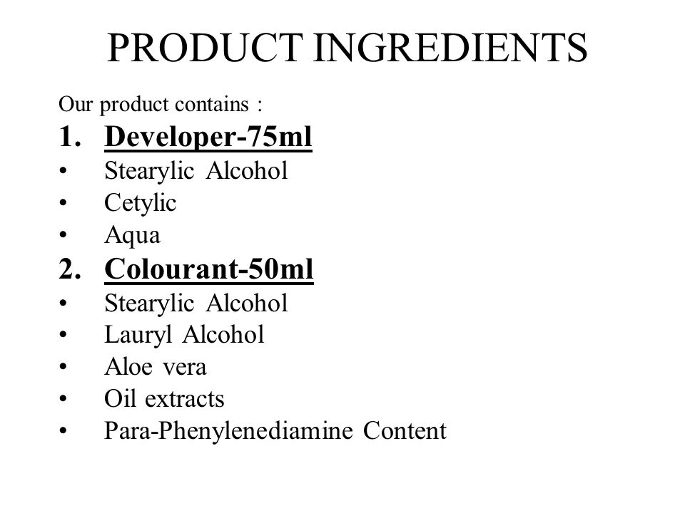 PRODUCT INGREDIENTS Developer-75ml Colourant-50ml Stearylic Alcohol
