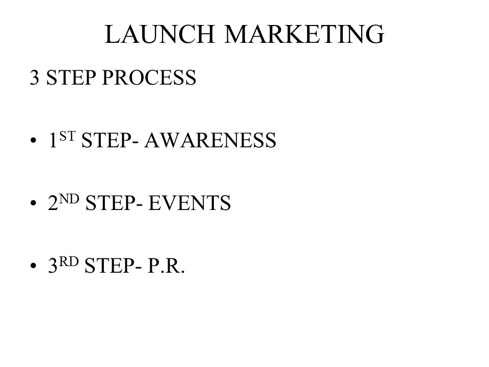LAUNCH MARKETING 3 STEP PROCESS 1ST STEP- AWARENESS 2ND STEP- EVENTS