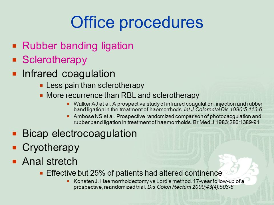 Office procedures Rubber banding ligation Sclerotherapy