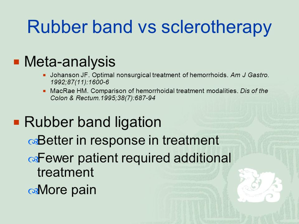 Rubber band vs sclerotherapy