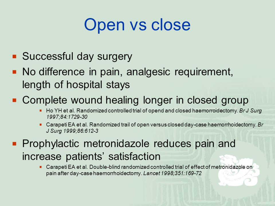Open vs close Successful day surgery