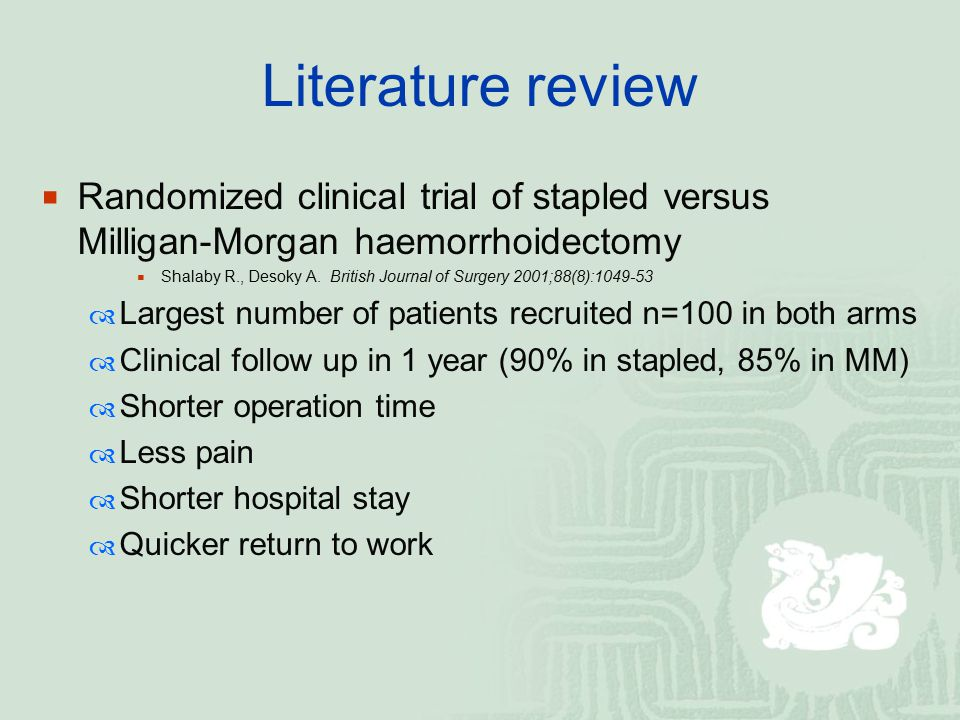 Literature review Randomized clinical trial of stapled versus Milligan-Morgan haemorrhoidectomy.