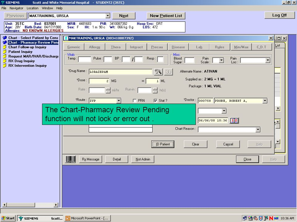 The Chart-Pharmacy Review Pending function will not lock or error out .