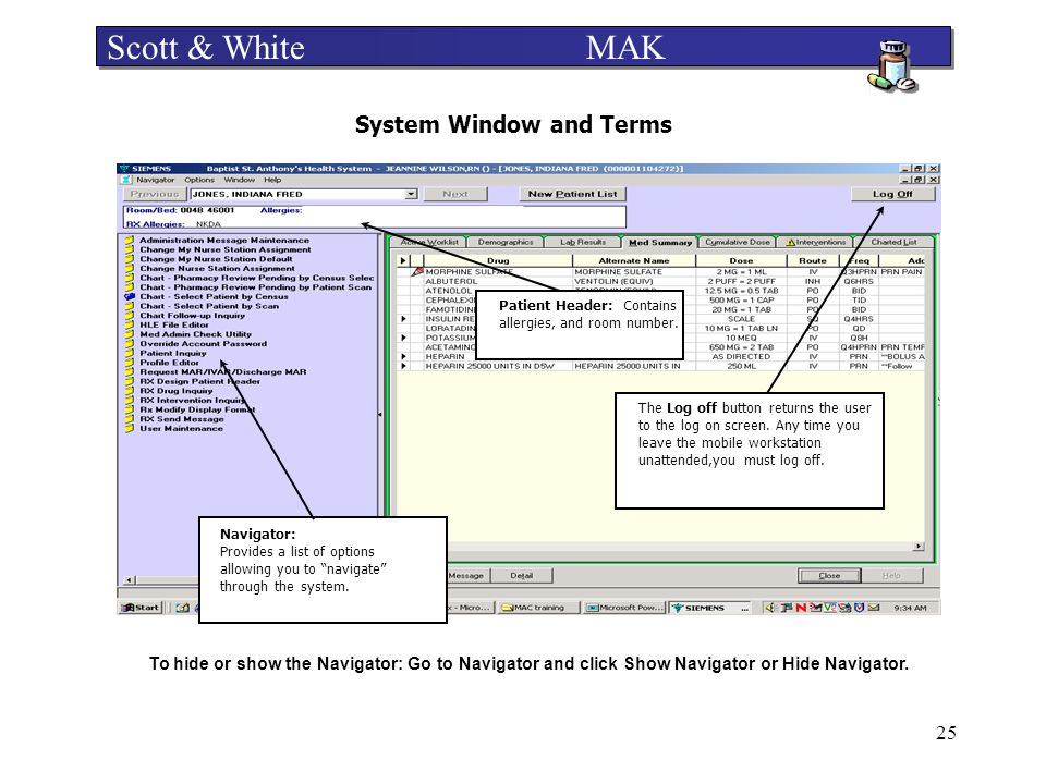 System Window and Terms