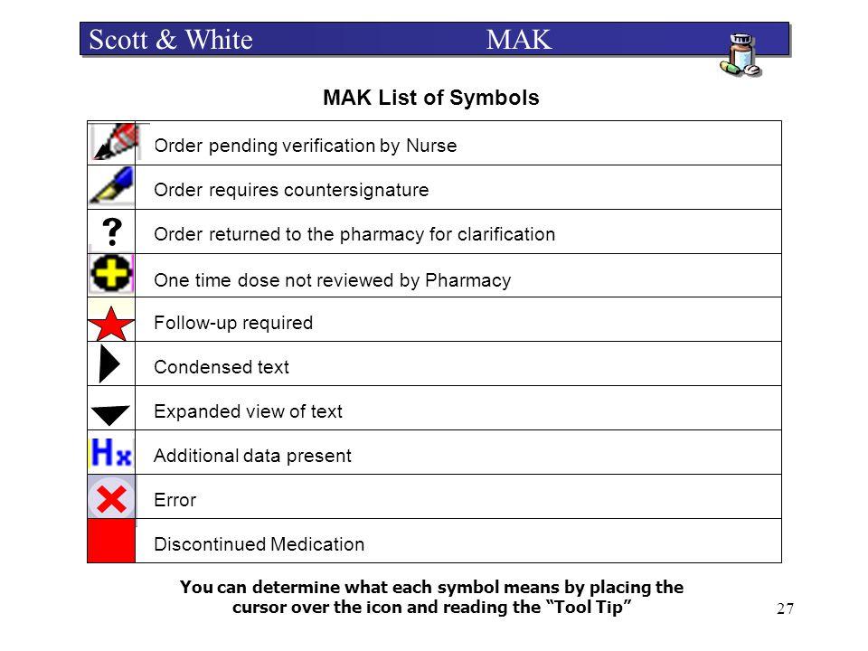  Scott & White MAK MAK List of Symbols