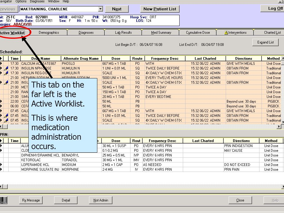 This tab on the far left is the Active Worklist.