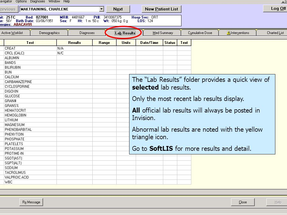 The Lab Results folder provides a quick view of selected lab results.
