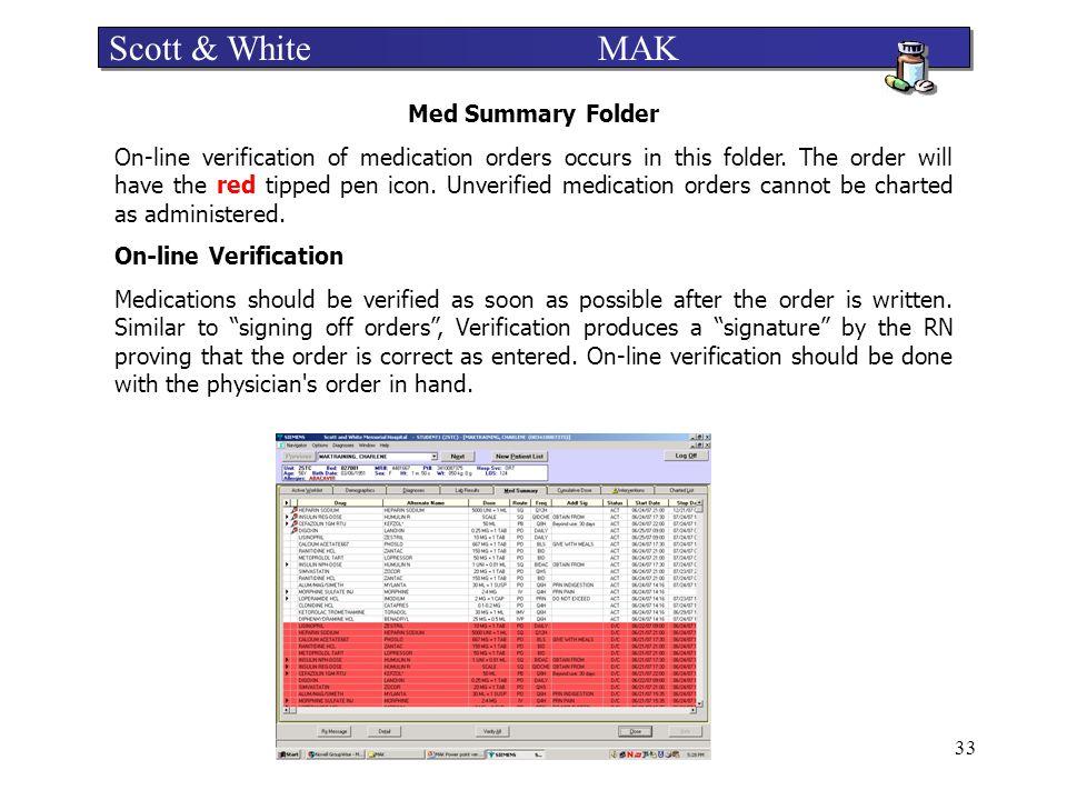 Scott & White MAK Med Summary Folder