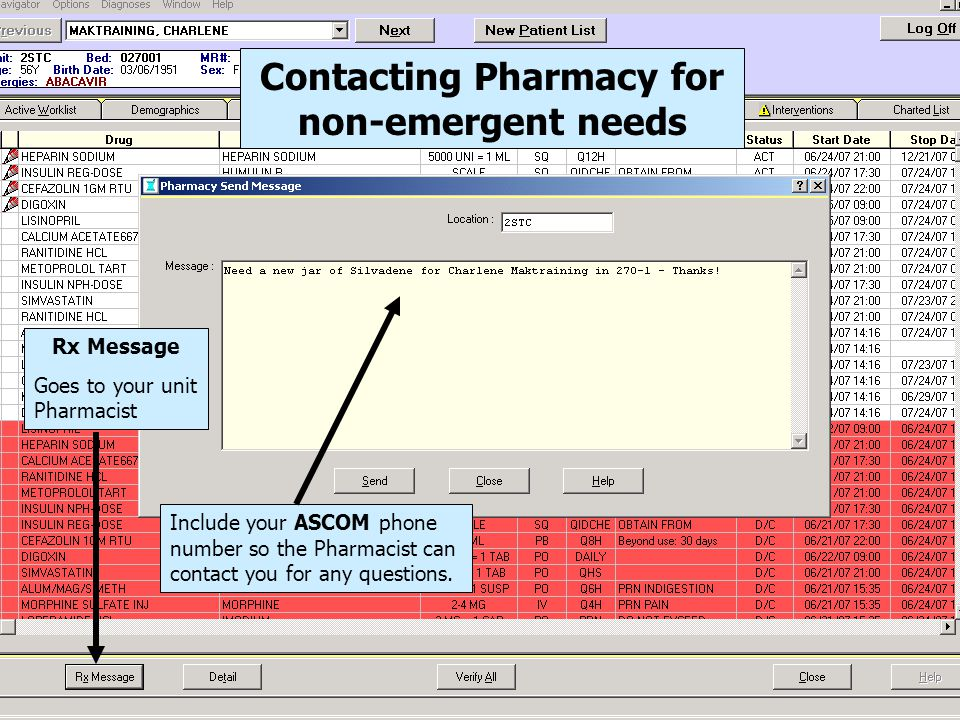 Contacting Pharmacy for non-emergent needs