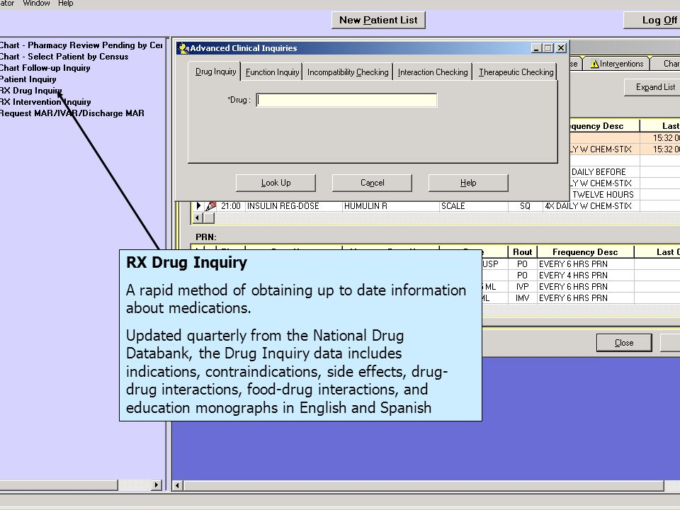 RX Drug Inquiry A rapid method of obtaining up to date information about medications.