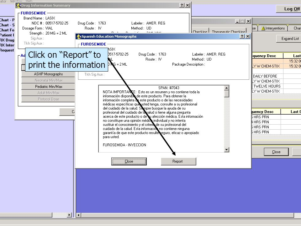 Click on Report to print the information