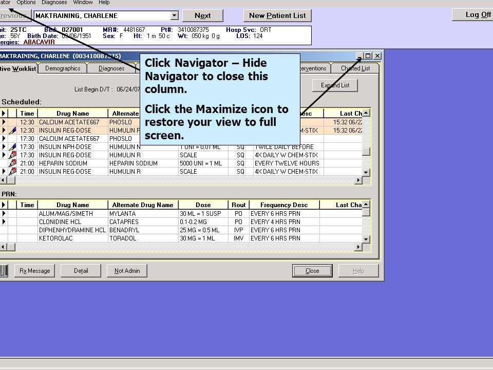 Click Navigator – Hide Navigator to close this column.